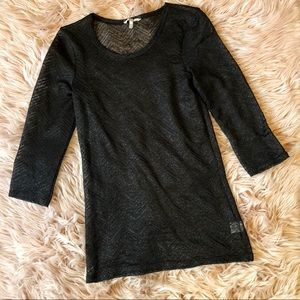 BKE Black Sheer Top with Metallic Accents